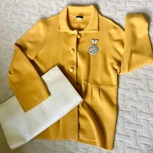 J Crew Blazer Gold Pleated Wool Blazer Cardigan XL